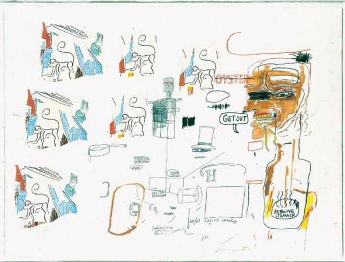Jean-Michel Basquiat-Untitled (Get Out, Burning Stomach)-1985