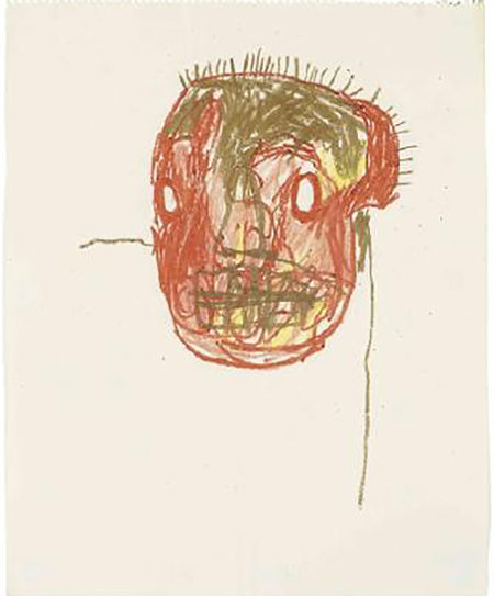 Jean-Michel Basquiat-Untitled (Golden Forehead)-1982