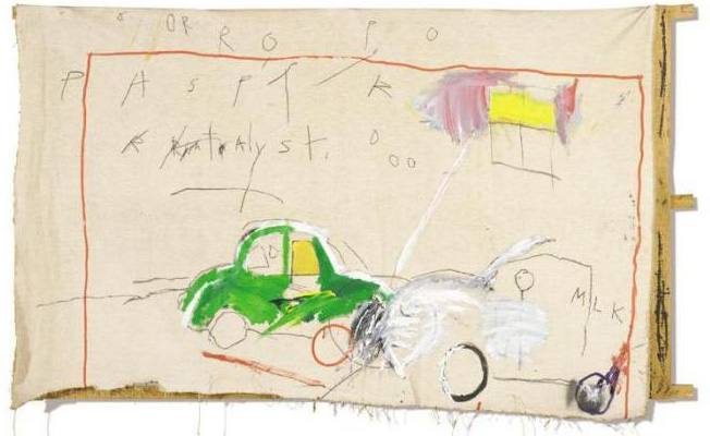 Jean-Michel Basquiat-Untitled (Green Car Hits Milk)-1980