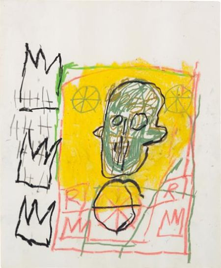 Jean-Michel Basquiat-Untitled (Green Head, Yellow Background)-1981