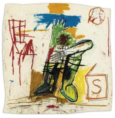 Jean-Michel Basquiat-Untitled (Green Man, S in Cube)-1981