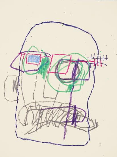 Jean-Michel Basquiat-Untitled (Green and Blue Glasses)-1981