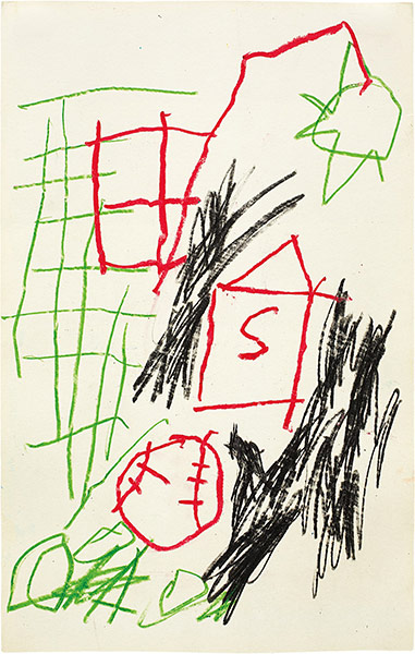 Jean-Michel Basquiat-Untitled (House with S and Baseball)-1981