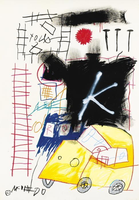 Jean-Michel Basquiat-Untitled (King, Blue Stain)-1982