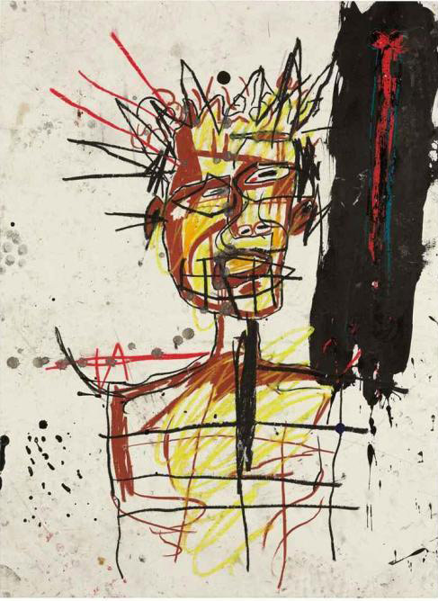 Jean-Michel Basquiat-Untitled (King, Black Stain)-1982