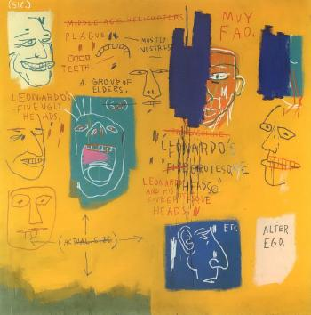Jean-Michel Basquiat-Untitled (Leonardo and his Five Grotesque Heads)-1983