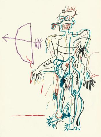 Jean-Michel Basquiat-Untitled (Man With Bow)-1982