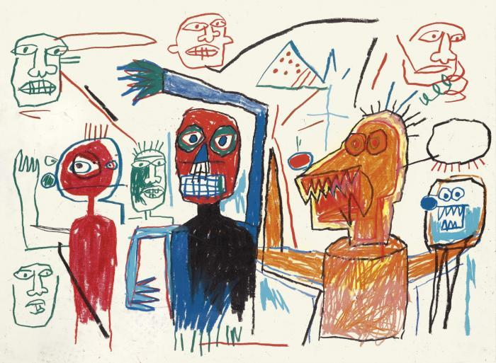 Jean-Michel Basquiat-Untitled (Many Figures)-1982