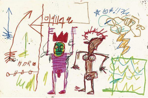 Jean-Michel Basquiat-Untitled (Purple and Brown Man)-1981