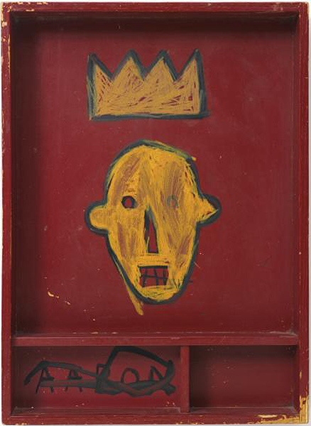 Jean-Michel Basquiat-Untitled (Red Box Yellow King)-1981