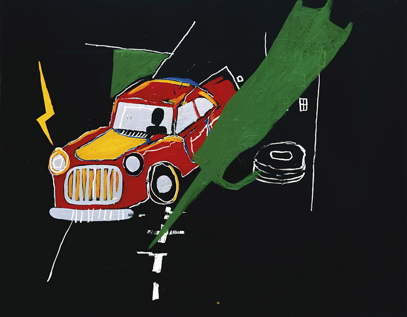 Jean-Michel Basquiat-Untitled (Red Car Green Wings)-