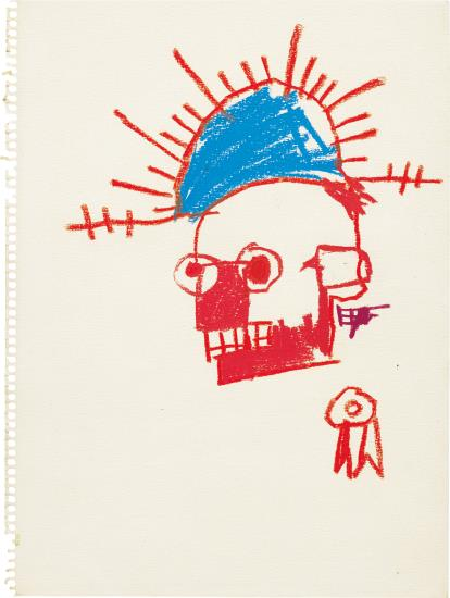 Jean-Michel Basquiat-Untitled (Red Head, Blue Cap)-1981
