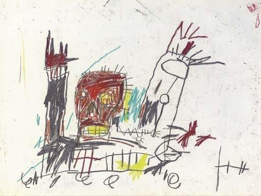 Jean-Michel Basquiat-Untitled (Red Head, Gray and Red Hand)-1982