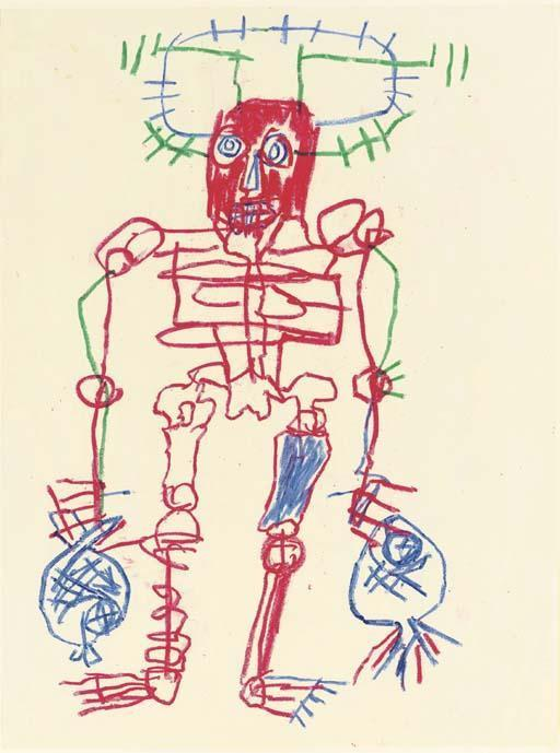 Jean-Michel Basquiat-Untitled (Red Man, Two Blue Fishes)-1981