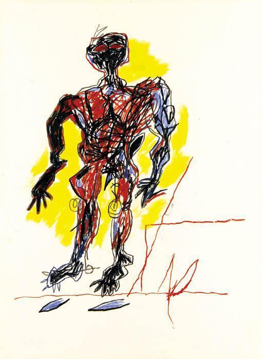 Jean-Michel Basquiat-Untitled (Red Man, Yellow Bkg)-1982