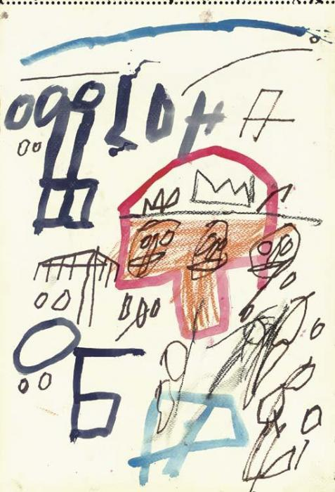 Jean-Michel Basquiat-Untitled (Red Outlined Skull)-1981