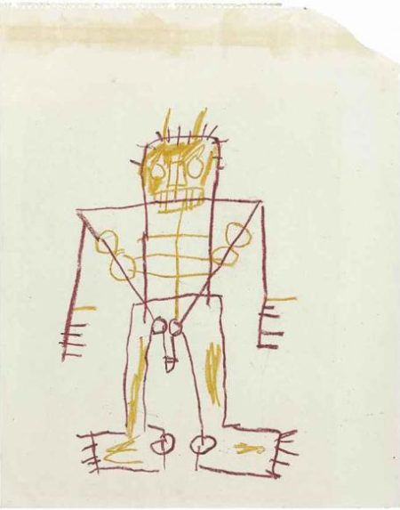 Jean-Michel Basquiat-Untitled (Red Outlined Stickman)-1987