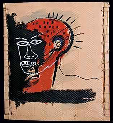Jean-Michel Basquiat-Untitled (Red and Black Face)-1982