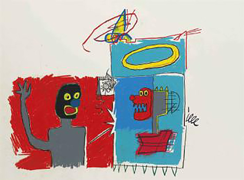 Jean-Michel Basquiat-Untitled (Red and Blue Argue)-1982