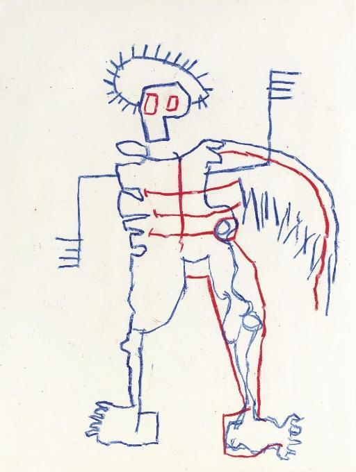 Jean-Michel Basquiat-Untitled (Red and Blue Outline Stickman)-1981