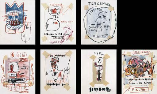 Jean-Michel Basquiat-Untitled (Seven Drawings)-