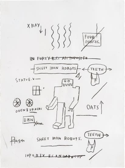 Jean-Michel Basquiat-Untitled (Sheet Iron Robots)-1983