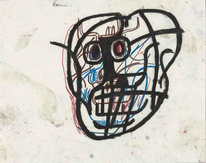Jean-Michel Basquiat-Untitled (Skull)-1982