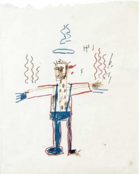 Jean-Michel Basquiat-Untitled (Stickman Blue Collar)-1981