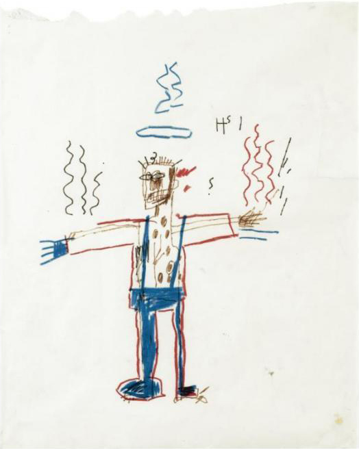 Jean-Michel Basquiat-Untitled (Stickman Blue Collar)-1981