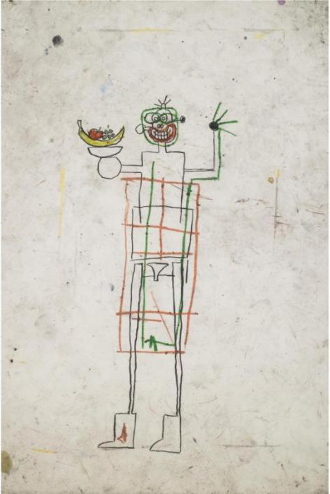 Jean-Michel Basquiat-Untitled (Stickman With Fruit)-1982