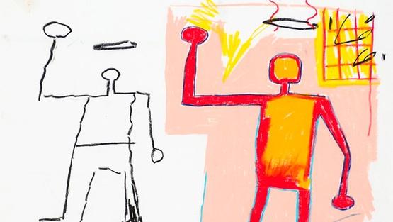 Jean-Michel Basquiat-Untitled (Two Stickman, Silhouette...)-