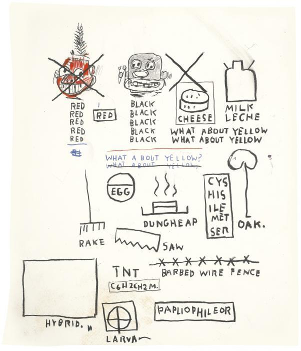 Jean-Michel Basquiat-Untitled (What About Yellow)-1987