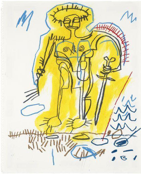 Jean-Michel Basquiat-Untitled (Yellow Aura Man With Sword)-1982