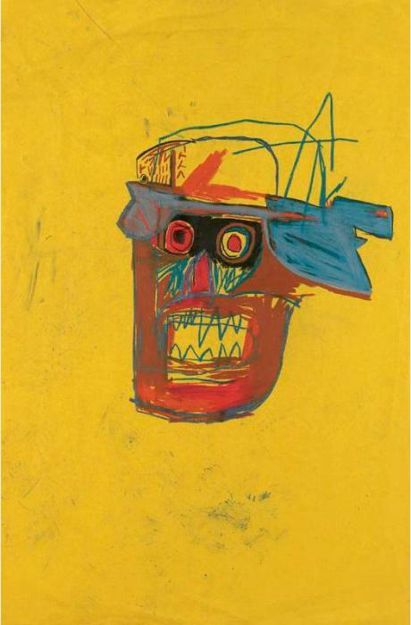 Jean-Michel Basquiat-Untitled (Yellow Back Brown Face)-1982