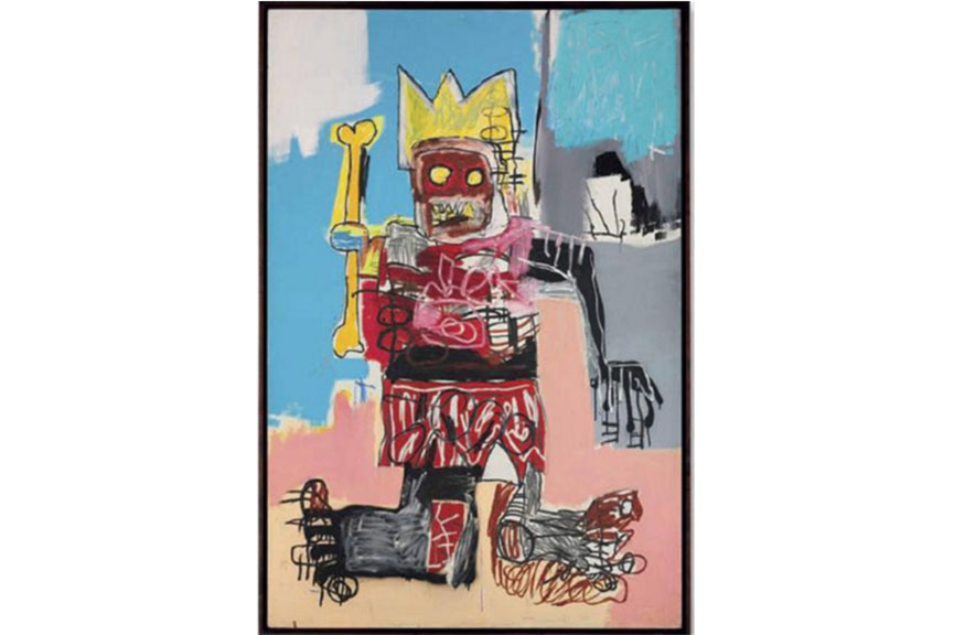 Jean Michel Basquiat paintings and graffiti he did as a street artist depict the American racial questions