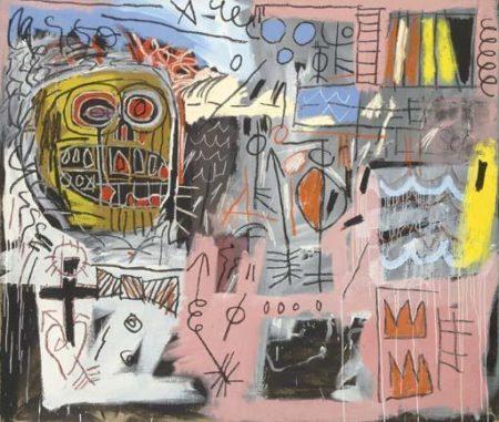 Jean-Michel Basquiat-Untitled (Yellow Head, Black Cross)-1982