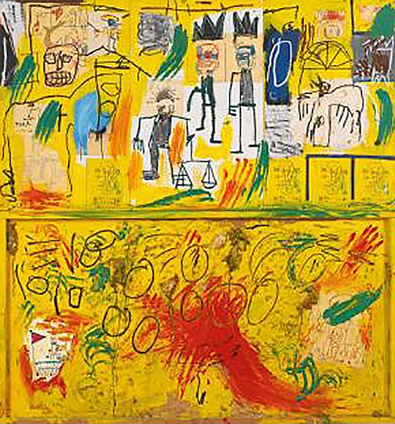 Jean-Michel Basquiat-Untitled (Yellow Tar and Feathers)-1982