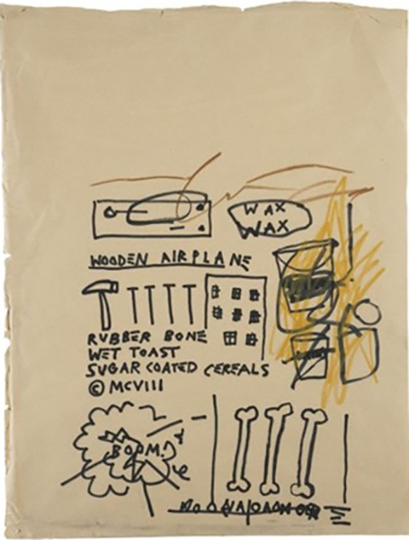 Jean-Michel Basquiat-Wooden Airplane-1982
