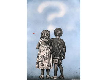 Jef Aérosol - Question Mark, 2018. Stencil and acrylicon canvas, 146 x 97cm. David Pluskwa Art Contemporain