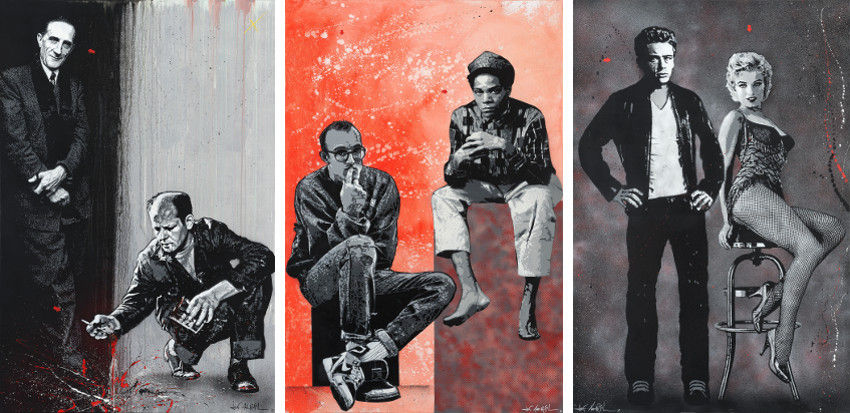 Jef Aerosol - Marcel Duchamp & Jackson Pollock, 2013 (Left) - Keth Haring & J-M Basquiat, 2013 (Center) - James Dean & Marilyn Monroe, 2013 (Right)