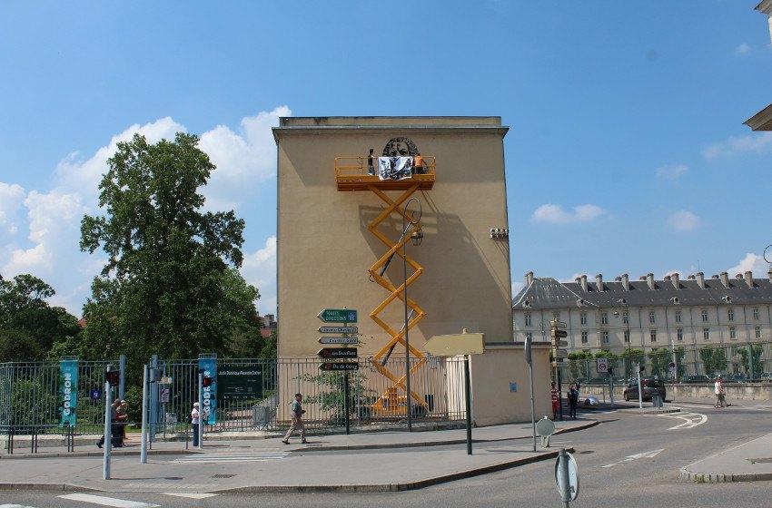 Jef Aerosol - Stan, mural in Nancy, France, work in progress, 2016