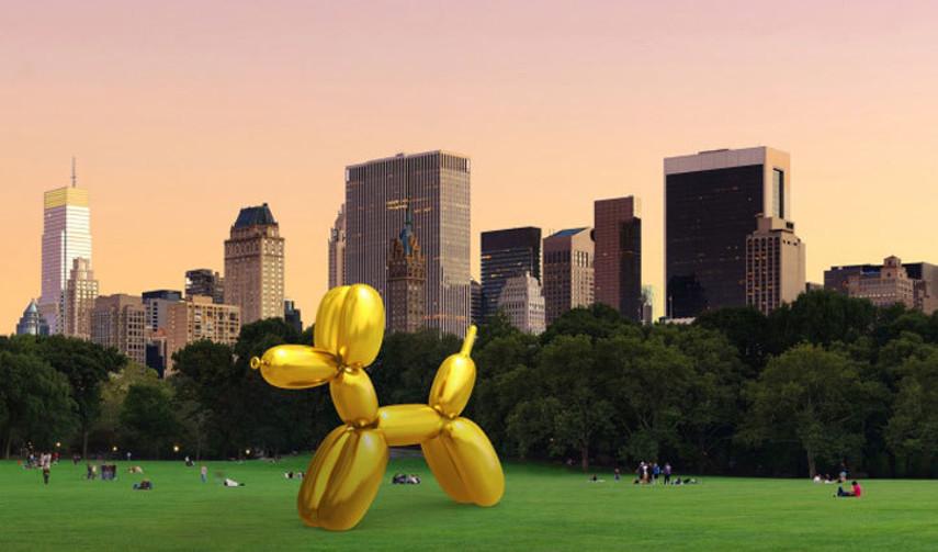 Jeff Koons' Balloon Dog Vandalized by Sebastian Errazuriz