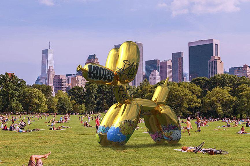 Jeff Koons' Balloon Dog Vandalized by Sebastian Errazuriz on Snapchat