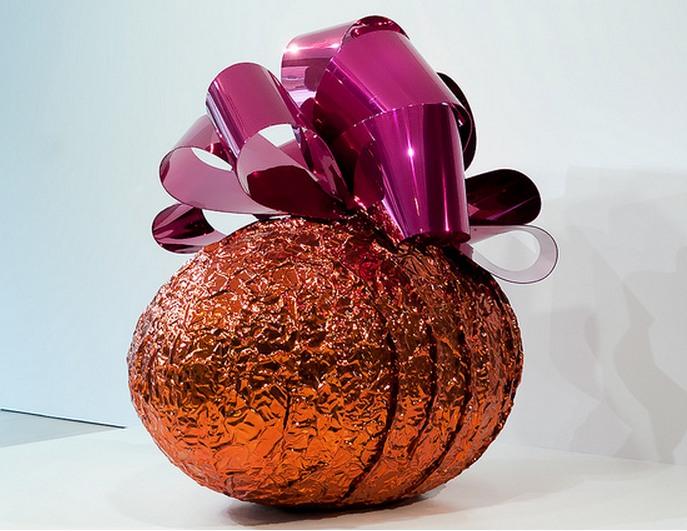 Jeff Koons-Baroque Egg with Bow (Orange, Magenta)-2008