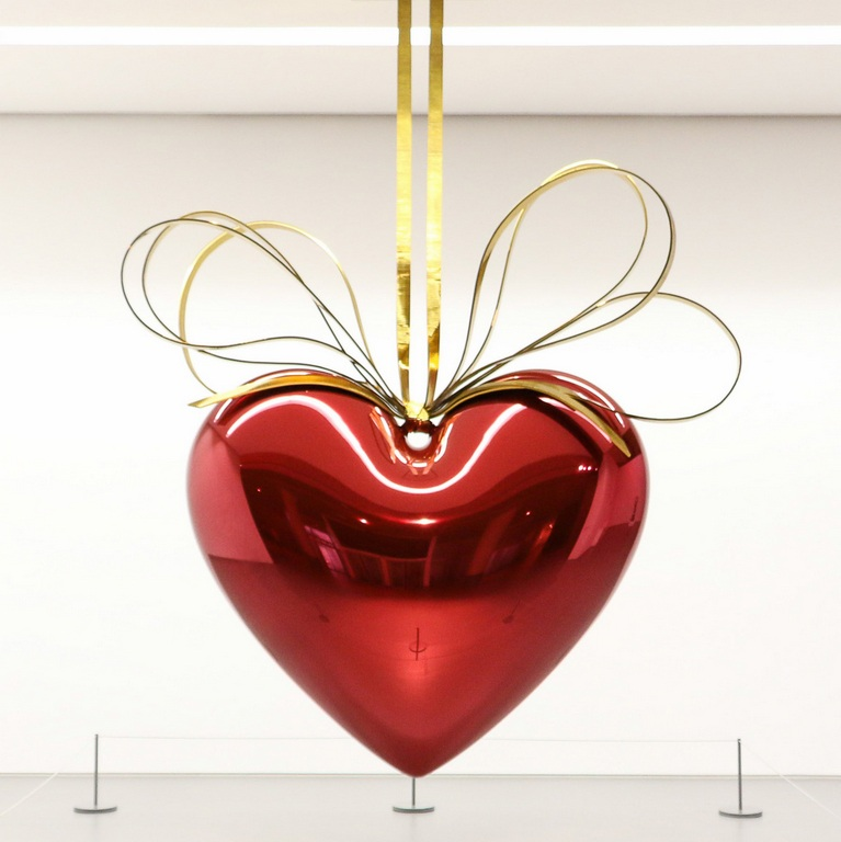 Jeff Koons-Hanging Heart (Magenta, Gold)-2006
