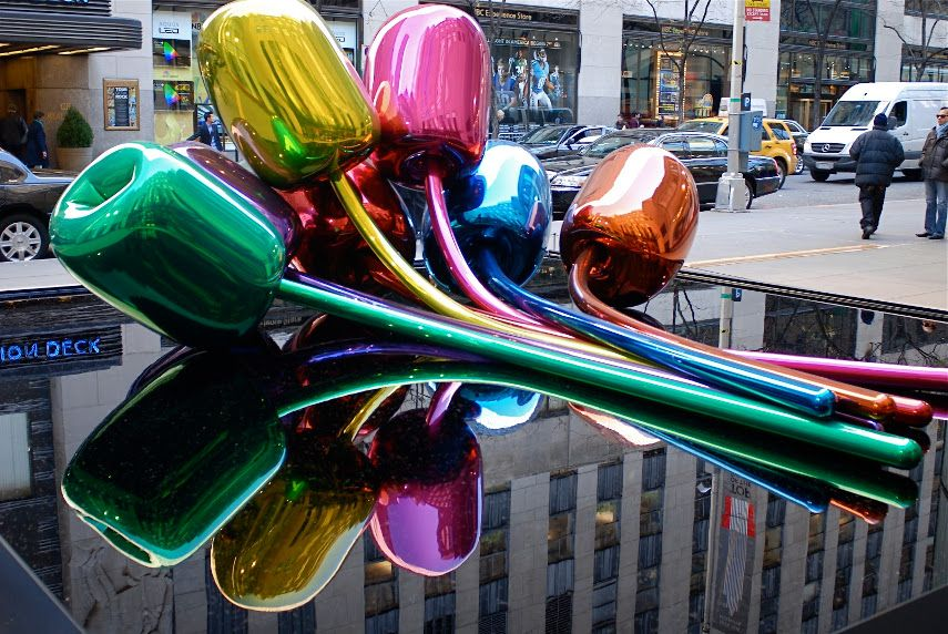 Jeff Koons's Tulips by in Full Bloom Outside Christie's at Rockefeller Center