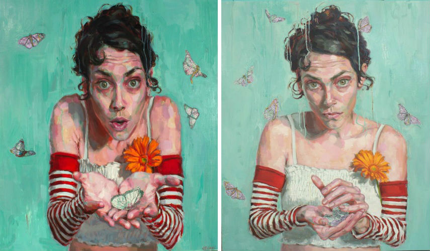 Jennifer Balkan - Poof (left) - Slipping away (right), photos via aliafineart.com