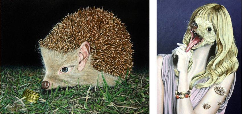 Jens Heller - The Hedgehog People II - At Night, Mische, 2013 (Left) / The Hedgehog People IV - Model 2, Mische, 2013 (Right)