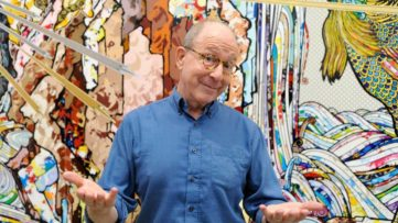 Jerry Saltz on view; in front of the new works on view at the gallery