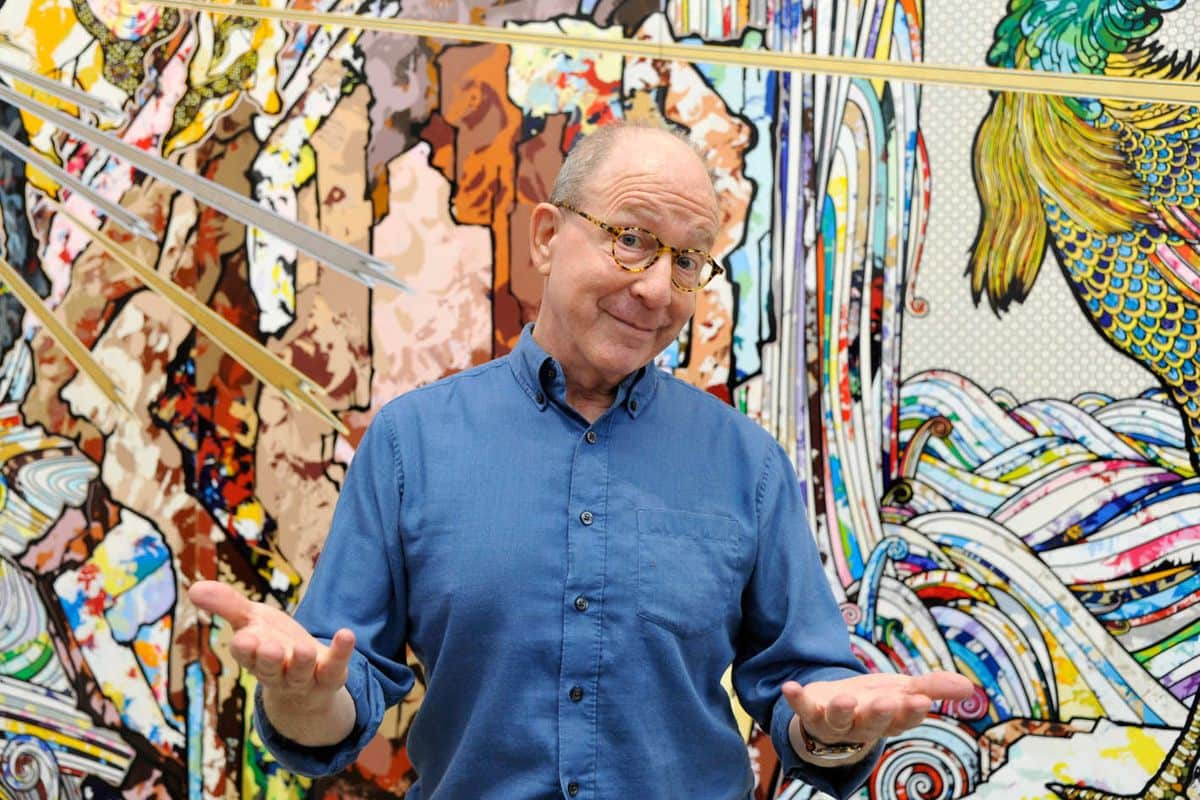 Jerry Saltz; in front of the new works on view